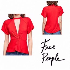 Free People Red Just A Twist Short Sleeve Tee